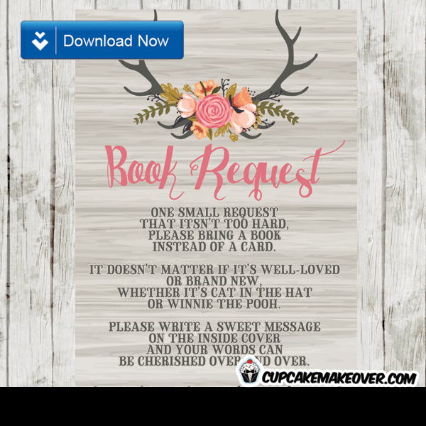 rustic wood deer antlers watercolor floral tulips book request invitation request