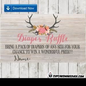 rustic wood deer antlers floral tulips diaper raffle tickets