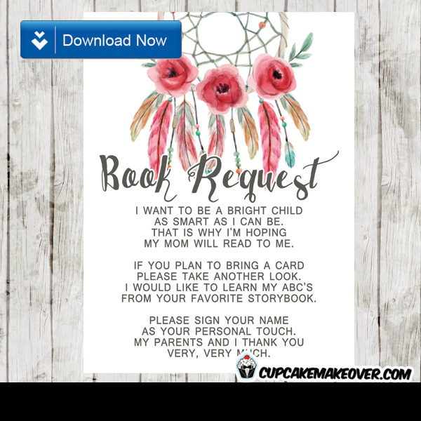 pink floral dreamcatcher boho book request invitation insert feathers