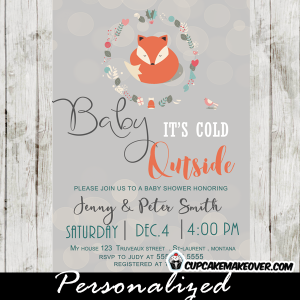 woodland theme fox baby shower invitations baby it's cold outside winter