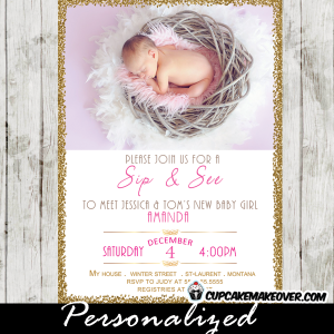 baby girl photo sip and see invitations winter baby shower invites