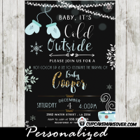 sip and see invitations winter baby shower invites mittens snowflakes blue boys