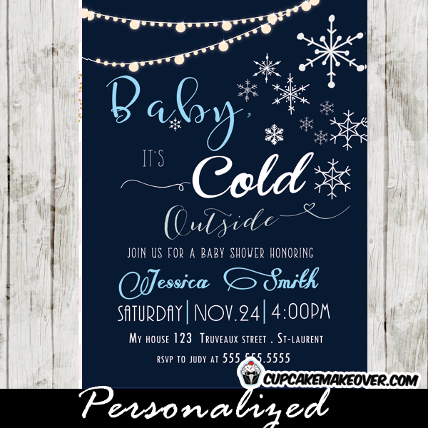 snowflake baby shower invitations blue boys backyard string lights