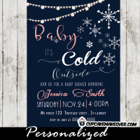 winter themed baby shower invitations baby it's cold outside girl pink
