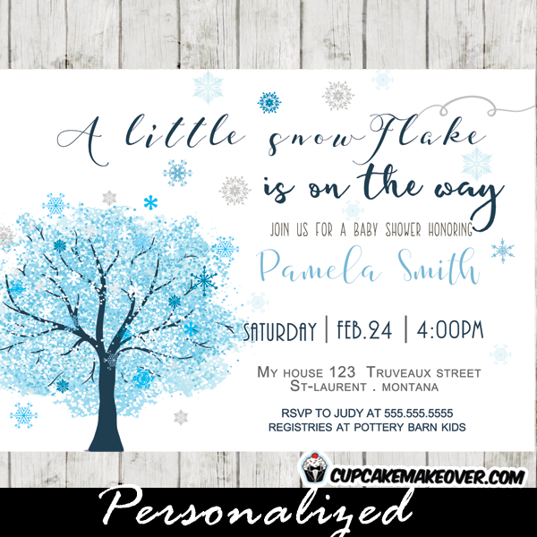 snowflake invitations winter baby shower invitations blue tree