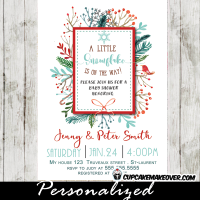 little snowflake on the way winter themed baby shower invitations berry wreath