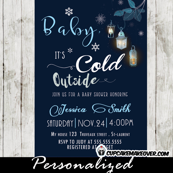 snowflake baby shower invitations baby it's cold outside winter themes boys