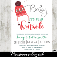 winter baby shower invitations ugly sweater pom pom beanie