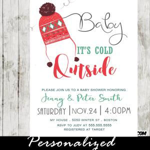 winter baby shower invitations ugly sweater pom pom beanie
