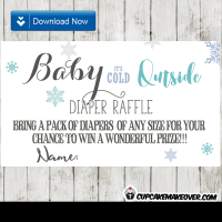 winter blue snowflakes diaper raffle tickets