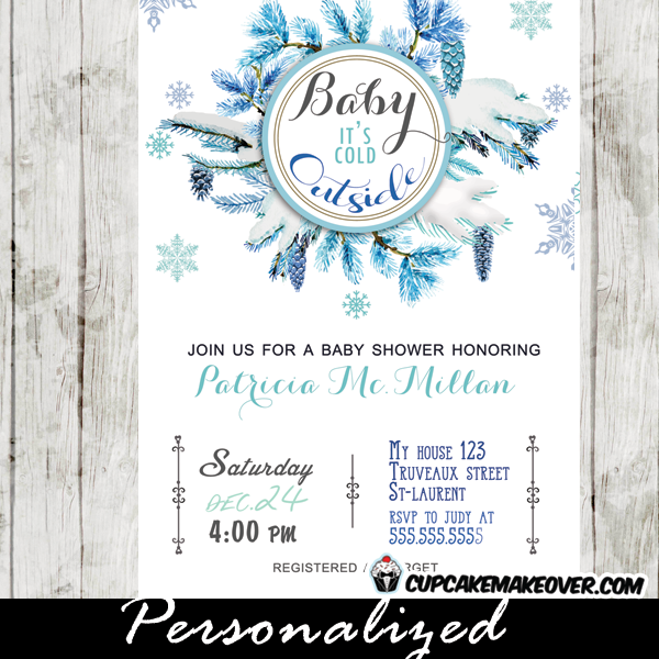 winter baby shower invitations, blue pine cone wreath, baby it's, Baby shower invitations