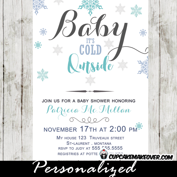 snowflake baby shower invitations baby it's cold outside blue boys