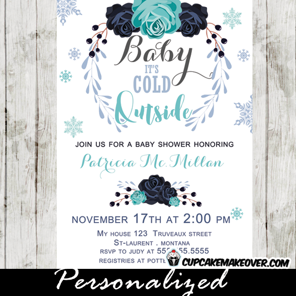 winter baby shower invitations, blue floral bouquet, baby it's, Baby shower invitations