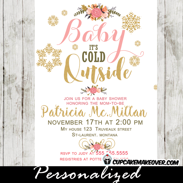 winter baby shower invitations, pink peach floral bouquet, baby, Baby shower invitations