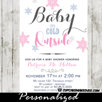 snowflake baby shower invitations pink girls baby it's cold outside