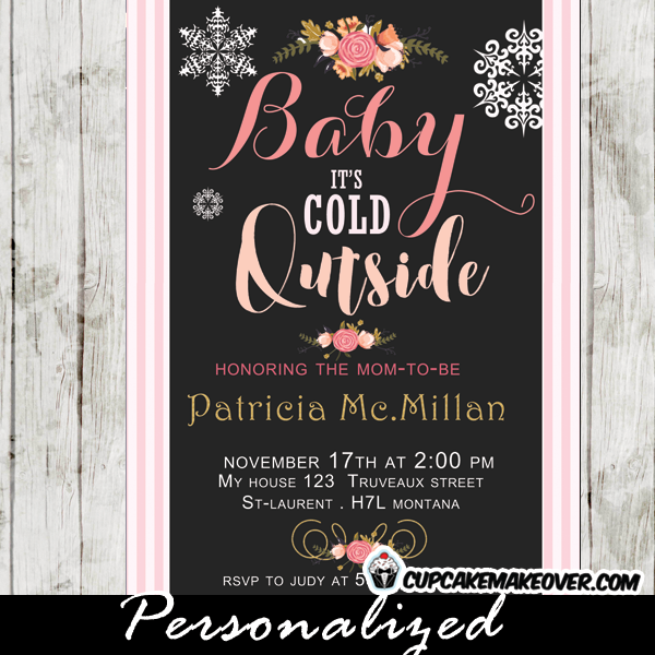 white snowflakes baby i's cold outside winter themed baby shower invitations girls pink stripes