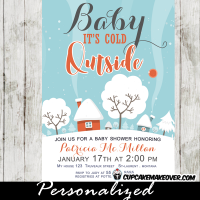 winter themed invitations snow covered landscape baby it's cold outside boys girls