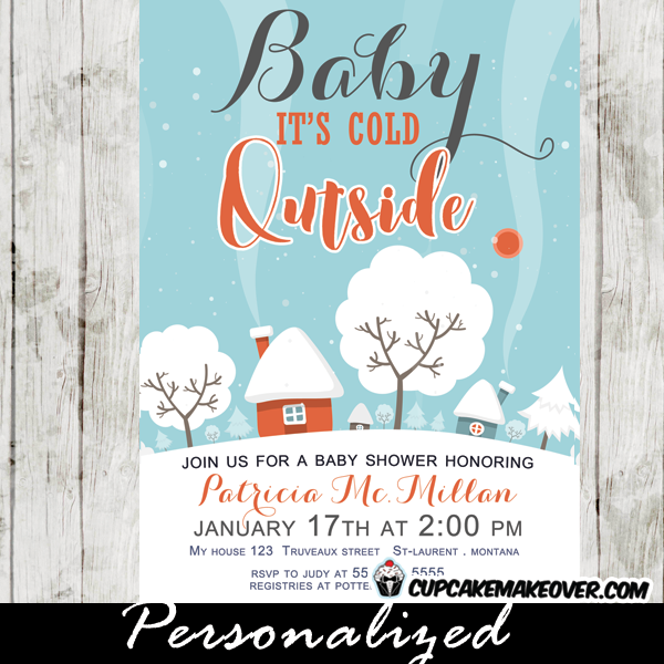 Winter Baby Shower Invitations Snow Covered Landscape Baby It S