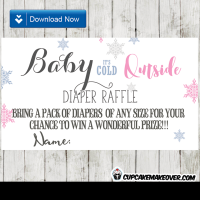 winter pink snowflakes diaper raffle tickets