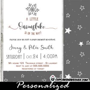 elegant winter gray snowflake baby shower invitations white stars neutral