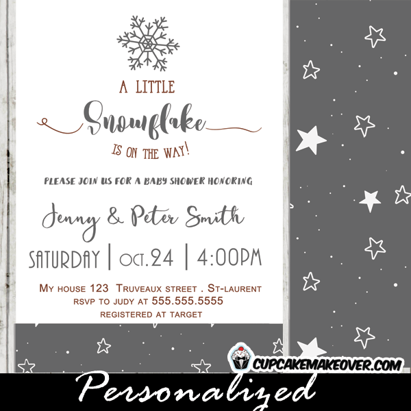 elegant winter gray snowflake baby shower invitations white stars neutral