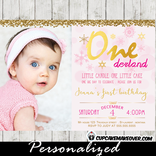 winter onederland first birthday photo invitations girl pink bokeh