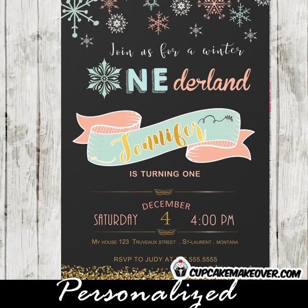 Winter Onederland Party Invitations First birthday girls chalkboard pink gold