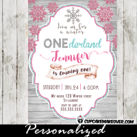 winter wonderland 1st birthday invitations pink snowflake silver glitter white wood girls