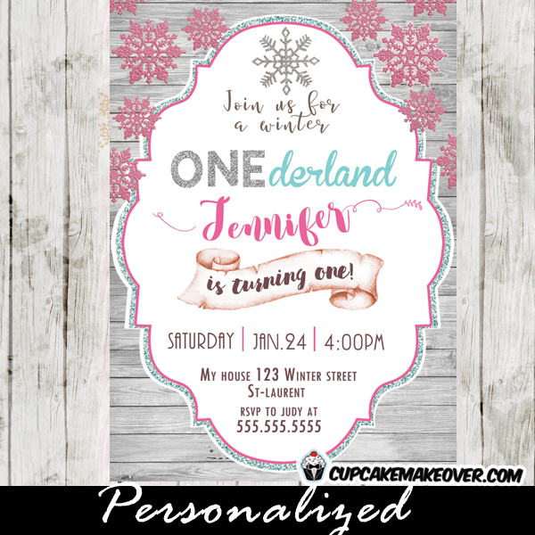 winter onederland birthday invitations white wood silver glitter