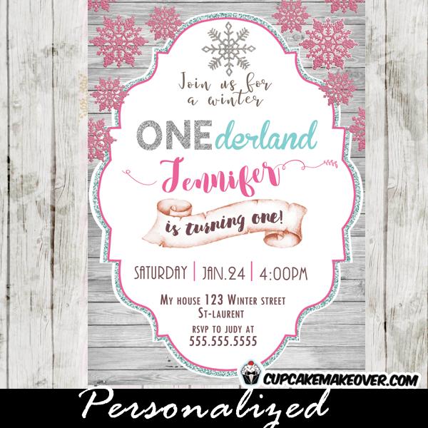 winter wonderland 1st birthday invitations pink snowflake silver glitter white wood girls