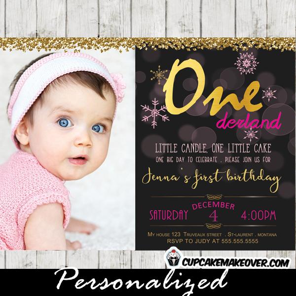 winter wonderland 1st birthday invitations first birthday photo invitations girl