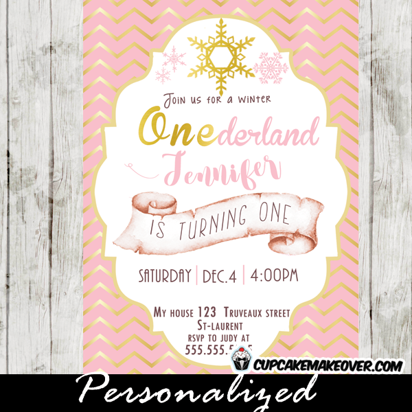 winter wonderland party invitations first birthday pink gold girls