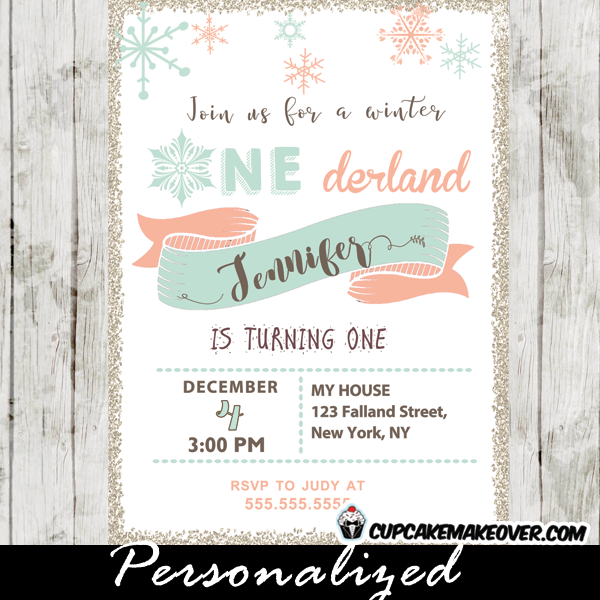 Winter Onederland Birthday Invitations Coral Pink Tiffany Blue
