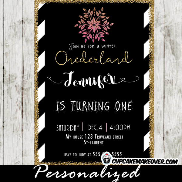 Winter Onederland Birthday Invitations Black White Stripes Gold Glitter