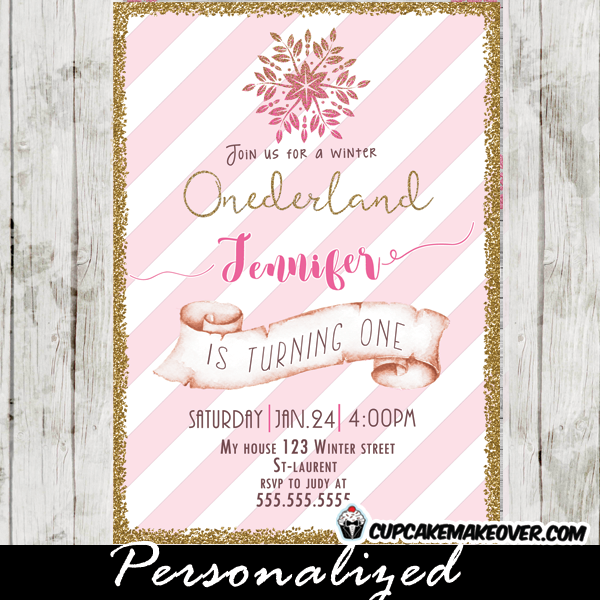 Winter Onederland Birthday Invitations Modern Pink White Stripes Gold Girl