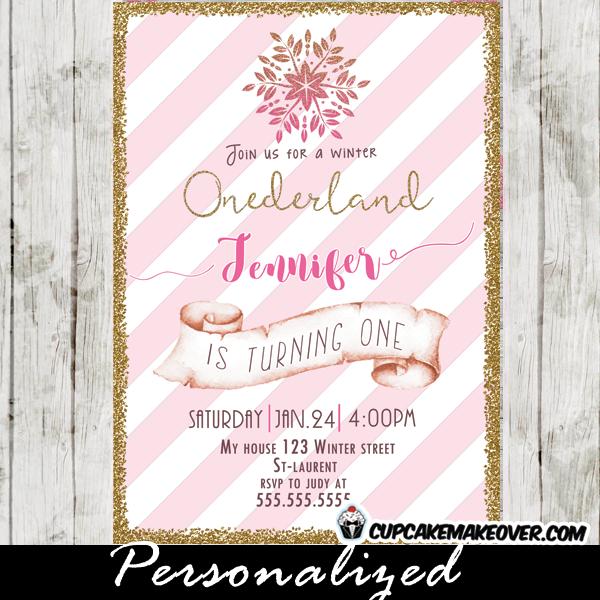 winter onederland birthday invitations modern pink white stripes gold girl