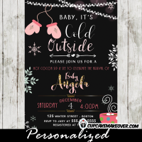 sip and see invitations winter baby shower invites mittens snowflakes pink girls