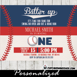 baseball party invitations red blue white stitches