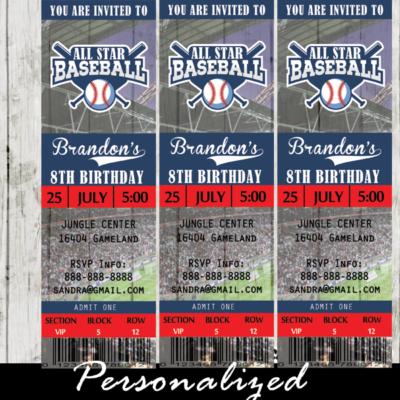 baseball ticket invitations sports birthday party