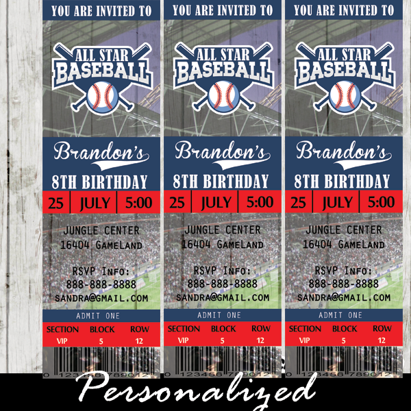 baseball ticket invitations sports birthday party