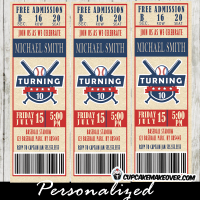 sports birthday party baseball ticket invitations