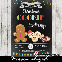 cookie exchange invitations christmas swap gingerbread invite