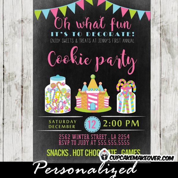 pink green blue cookie party invitations sweets treats oh what fun