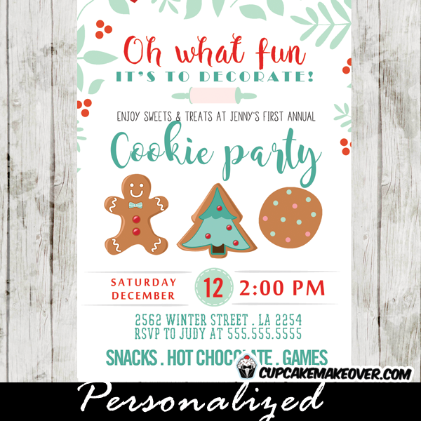 holiday cookie exchange invitations christmas cookie party