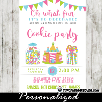 christmas cookie party invitations sweets treats oh what fun