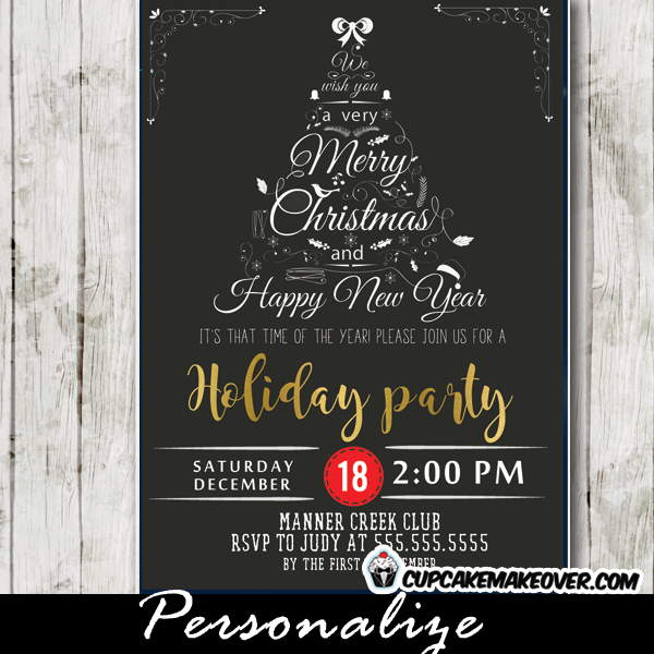 Company Holiday Party Invitations Black White Christmas Word Tree – Office Holiday Party Invites