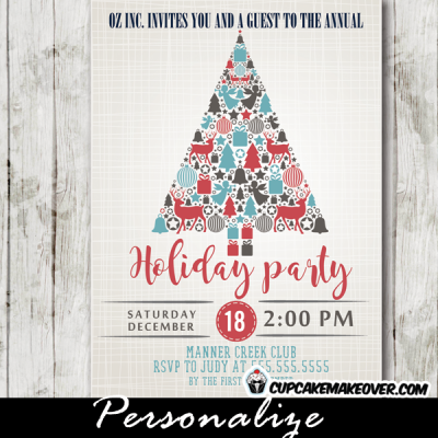 company christmas party invitations red blue gray