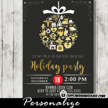 corporate holiday party invitations elegant ornaments