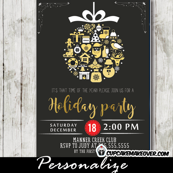 Company Holiday Party Invitations Vintage Christmas
