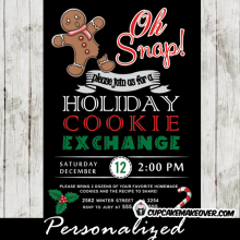 oh snap cookie exchange invitations gingerbread man christmas holiday